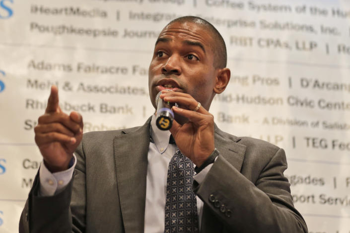 The Democratic candidate for New York's 19th District, Antonio Delgado, speaks during a candidate forum in Poughkeepsie, N.Y., Wednesday, Oct. 17, 2018. Hip-hop, health care and Brett Kavanaugh have emerged as issues in a too-close-to-call congressional race in New York's Hudson Valley that pits the freshman Republican congressman against a rapper-turned-corporate lawyer seeking his first political office. (AP Photo/Seth Wenig)