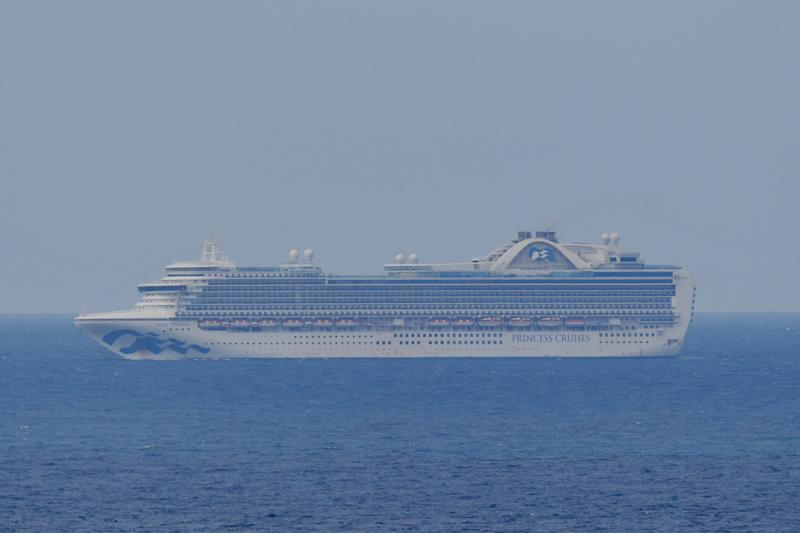The cruise ship the Ruby Princess shown sitting off the coast of Sydney earlier this week. Source: AAP