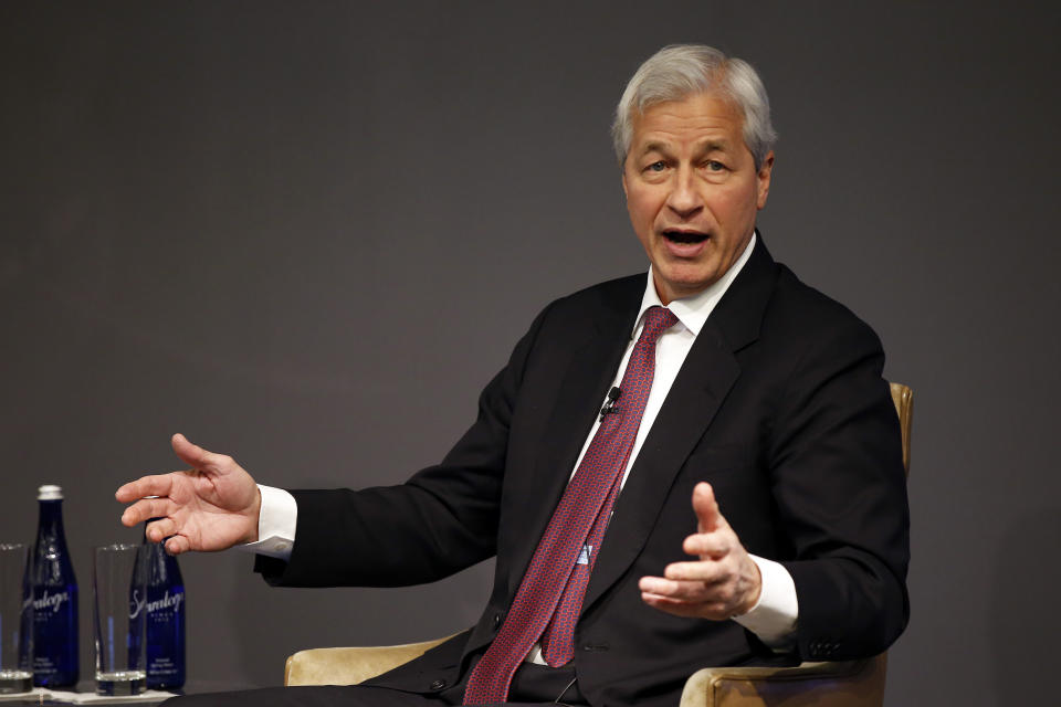 IMAGE DISTRIBUTED FOR JPMORGAN CHASE & CO. -  Jamie Dimon, Chairman and CEO, JPMorgan Chase, discusses Future of Work at JPMorgan Chase event on Monday, March 18, 2019 in New York. (Adam Hunger/AP Images for JPMorgan Chase & Co. )