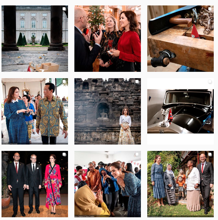 Screen shot of official Danish royal family Instagram featuring Princess Mary in six of nine photos