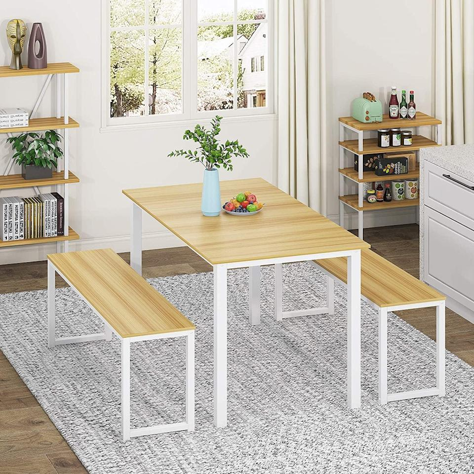 <p>The steel frame design of this <span>Homury 3-Piece Dining Table Set</span> ($174) makes it stable and sturdy, so you'll be sure to have it for a long time.</p>