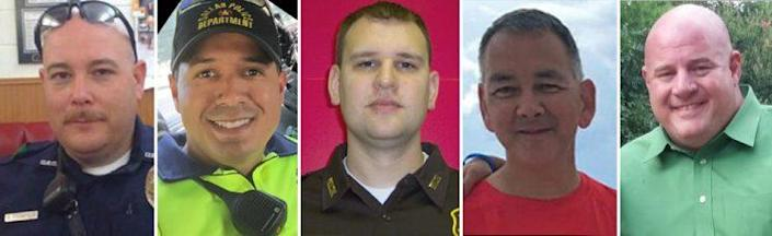 From left: Dallas sniper victims Brent Thompson (Reuters); Patrick Zamarripa (Twitter); Michael Krol (Wayne County Sheriff's Department); Michael Smith (family photo): Lorne Ahrens (Facebook).