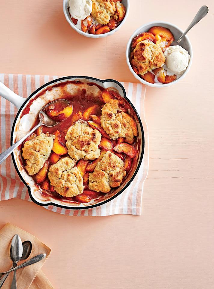 """<p>Serve hot off the grill or at room temperature. Crown it with a scoop of vanilla ice cream for an extra sweet touch.</p> <p><a href=""""https://www.myrecipes.com/recipe/grilled-peach-cobbler"""">Grilled Peach Cobbler Recipe</a></p>"""