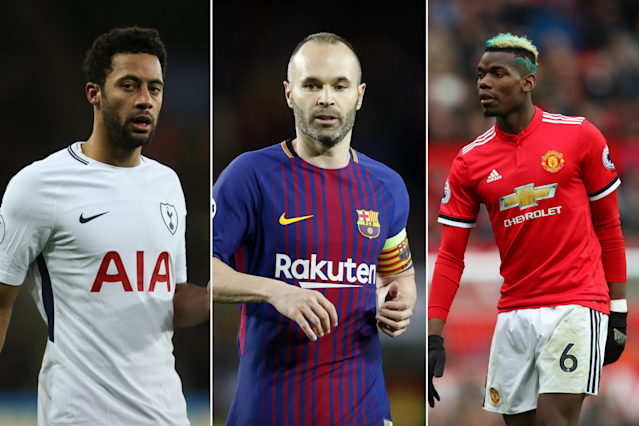 Mousa Dembele, Andres Iniesta and Paul Pogba could be on their way out of their clubs, according to reports.