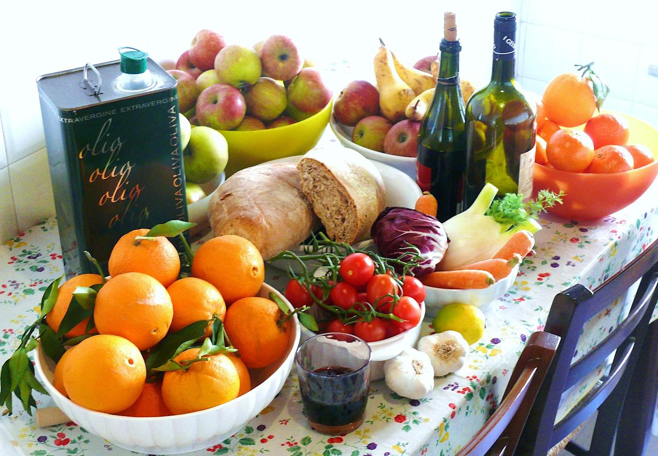 """<p>Based on foods of the Mediterranean countries, this diet restricts the consumption of butter, red meat, and processed foods as well as carbs such as sugar and flour. If you're on the Mediterranean diet you can eat fruits, vegetables, seeds, legumes and whole grains among other foods. Use of extra virgin olive oil is encouraged, while processed meats and refined foods, highly processed foods, and aerated drinks are banned from the diet.<br />Photograph: <a rel=""""nofollow"""" href=""""https://commons.wikimedia.org/wiki/File:DIETA_MEDITERRANEA_ITALIA.JPG"""">G.steph.rocket/Wikimedia Commons</a> </p>"""