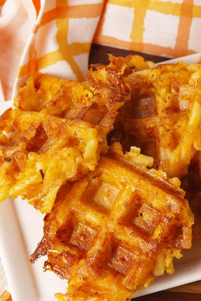 """<p>Proof that a waffle iron makes everything better.</p><p>Get the recipe from <a rel=""""nofollow noopener"""" href=""""https://www.delish.com/cooking/recipe-ideas/recipes/a56070/mac-n-cheese-waffles-recipe/"""" target=""""_blank"""" data-ylk=""""slk:Delish"""" class=""""link rapid-noclick-resp"""">Delish</a>.</p><p><strong><em><a rel=""""nofollow noopener"""" href=""""https://www.amazon.com/Holstein-Housewares-HH-09037016E-Waffle-Maker/dp/B06XS48232"""" target=""""_blank"""" data-ylk=""""slk:BUY NOW"""" class=""""link rapid-noclick-resp"""">BUY NOW</a> Teal Waffle Maker, $35, amazon.com</em></strong></p>"""