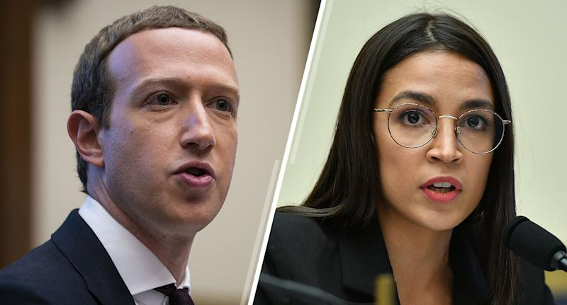 Mark Zuckerberg, chief executive officer and founder of Facebook, and Rep. Alexandria Ocasio-Cortez, D-N.Y. (Photos: Al Drago/Bloomberg via Getty Images, Mandel Ngan/AFP via Getty Images)