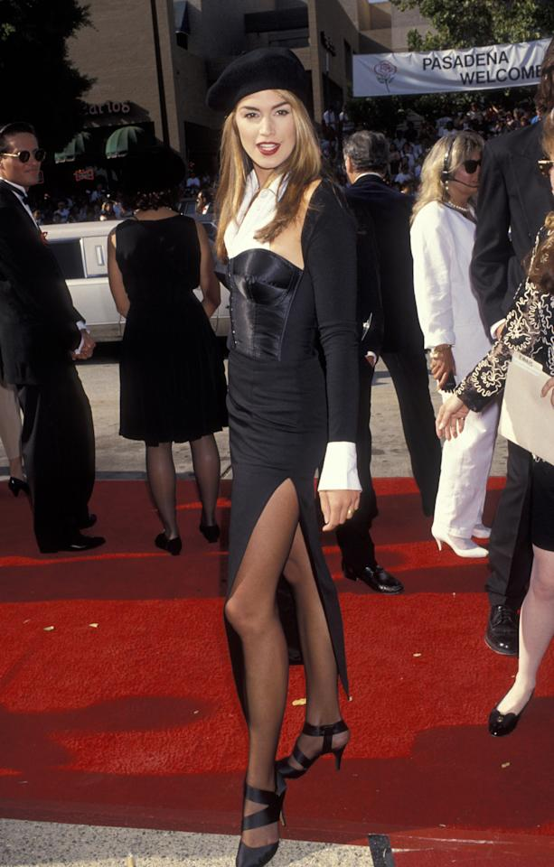 <p>Supermodel Cindy Crawford's 1992 look is still as iconic as it was all those years ago when she walked the red carpet in a pair of tights and a beret. Photo: Getty Images </p>