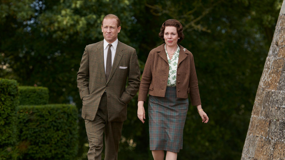 Tobias Menzies and Olivia Colman as Prince Philip and Queen Elizabeth in 'The Crown'. (Credit: Des Willie/Netflix)