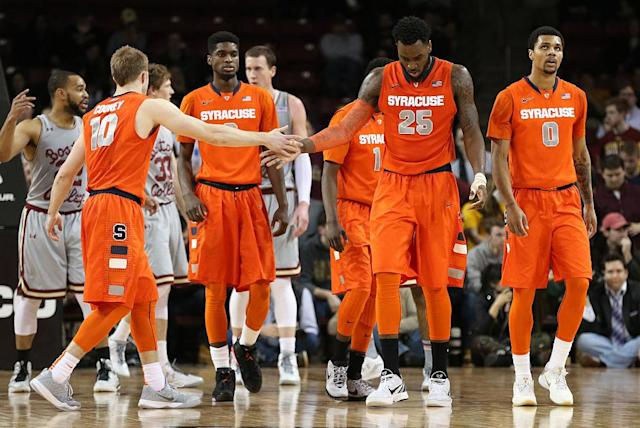 <p><strong>39. Syracuse</strong><br> Trajectory: Down. Orange actually returned to their approximate mean (44th) after a one-year surge to 21st. Doesn't help when you go from Final Four to NIT in men's hoops. </p>