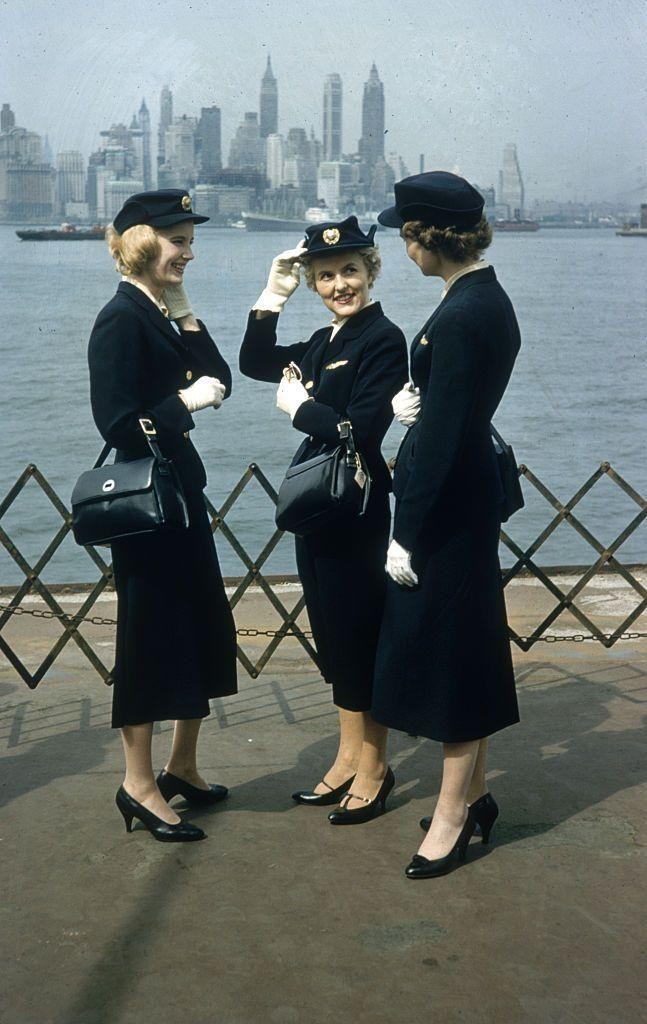 <p>A trio of Scandinavian Airlines System flight attendants sight-seeing during a layover in New York City in 1958. </p>