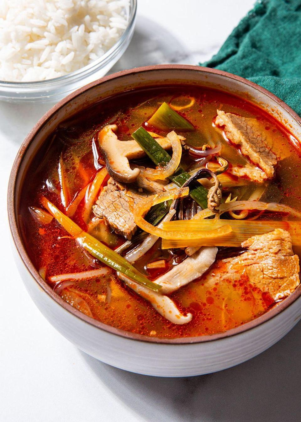 """<p>If you haven't had it, it's life changing. If you have had it, you have dreamed about making it at home. </p><p>Get the recipe from <a href=""""https://www.delish.com/cooking/recipe-ideas/a35047733/korean-soup-yukgaejang-recipe/"""" rel=""""nofollow noopener"""" target=""""_blank"""" data-ylk=""""slk:Delish"""" class=""""link rapid-noclick-resp"""">Delish</a>.</p>"""