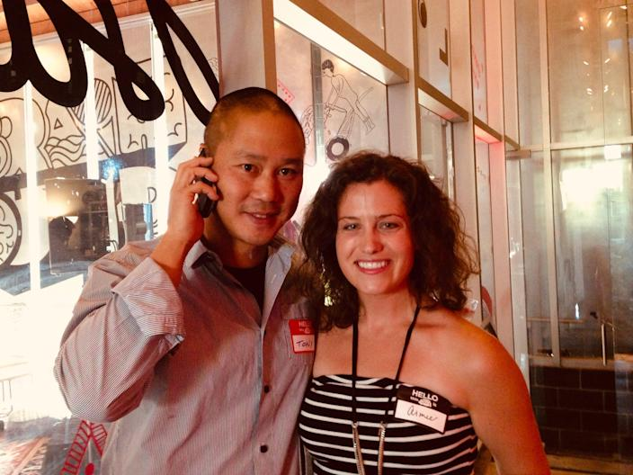 Aimee Groth and Tony Hsieh at a Los Angeles event