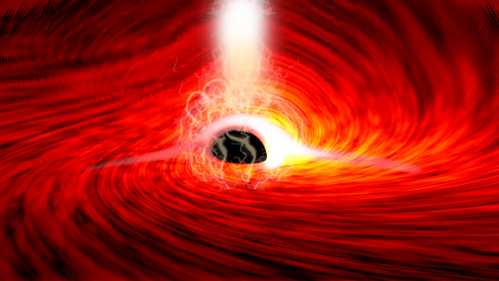 Researchers observed bright flares of X-ray emissions, produced as gas falls into a supermassive black hole. The flares echoed off of the gas falling into the black hole, and as the flares were subsiding, short flashes of X-rays were seen – corresponding to the reflection of the flares from the far side of the disk, bent around the black hole by its strong gravitational field. / Credit: Dan Wilkins