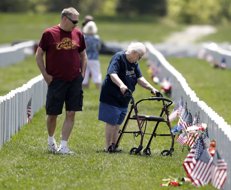 John Kemper and his mother visit the Ohio Western Reserve National Cemetery on Memorial Day in Seville
