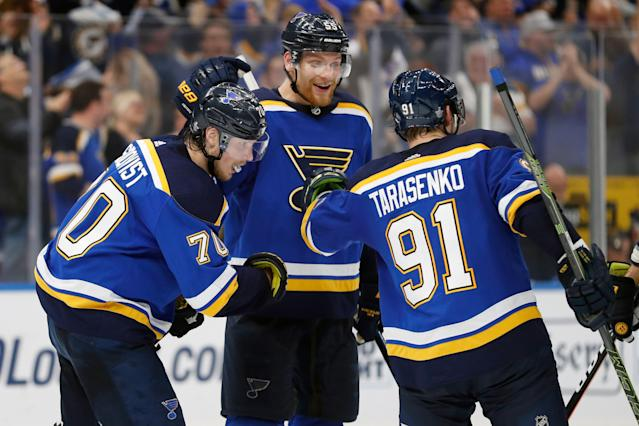 The Blues won a hard-fought series over the Sharks in six games to earn a trip to the final. (AP Photo/Jeff Roberson)