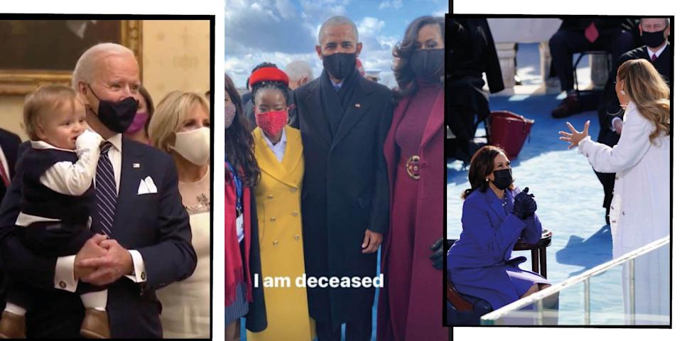 """<p>Wednesday January 20 was a historic day of firsts in the US when Joe Biden and <a href=""""https://www.elle.com/uk/life-and-culture/a33581587/kamala-harris/"""" rel=""""nofollow noopener"""" target=""""_blank"""" data-ylk=""""slk:Kamala Harris"""" class=""""link rapid-noclick-resp"""">Kamala Harris</a> were sworn in as President and Vice President, respectively, at the 2021 Inauguration. </p><p>While the official viewing figures for the ceremony are yet to be confirmed, it's estimated that millions of people around the world tuned in to see Joseph Biden Jr. officially become the 46th president of the United States, and Kamala Harris become the first female, first Black woman and woman of South Asian descent to enter office.</p><p>Highlights of the day have already received much attention and commentary in the media and online, with inaugural poet Amanda Gorman' rousing poem, Bernie Sanders' attire and Biden's speech pledging to work to heal a divided country among some of the most celebrated, discussed and <a href=""""https://www.elle.com/uk/life-and-culture/a35274477/inauguration-memes/"""" rel=""""nofollow noopener"""" target=""""_blank"""" data-ylk=""""slk:meme-d moments."""" class=""""link rapid-noclick-resp"""">meme-d moments.</a></p><p>But amid a day jam-packed full of exciting events and moments (<a href=""""https://www.elle.com/uk/life-and-culture/a35242878/joe-biden-inauguration-performers/"""" rel=""""nofollow noopener"""" target=""""_blank"""" data-ylk=""""slk:just look at the roster for the inaugural concert)"""" class=""""link rapid-noclick-resp"""">just look at the roster for the inaugural concert)</a> there were many moments missed too, picked up by just an eagle-eyed few on the internet. </p><p>To ensure you didn't miss a thing from the historic day, here are the most captivating inauguration moments that just might have evaded your attention on the big day...</p>"""
