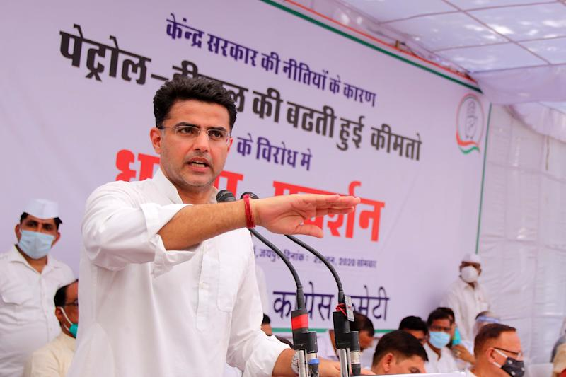 Rajasthan Congress President and Deputy Chief Minister Sachin Pilot addresses as he takes part in a protest 'dharna' against hike in the prices of petrol and diesel, in Jaipur, Rajasthan, India, on June 29, 2020. (Photo: NurPhoto via Getty Images)