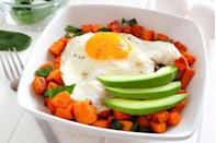 """<p>Just one medium-sized <a href=""""https://www.goodhousekeeping.com/health/diet-nutrition/a48026/sweet-potato-nutrition/"""" rel=""""nofollow noopener"""" target=""""_blank"""" data-ylk=""""slk:sweet potato"""" class=""""link rapid-noclick-resp"""">sweet potato</a> provides almost 400% of your daily vitamin A. Its orange-flesh is rich in beta-carotene, which is crucial for immunity. A single sweet potato also contains 15% of our daily recommended fiber intake, which can lower LDL cholesterol levels and boost your GI health. <a href=""""https://www.goodhousekeeping.com/food-recipes/g657/sweet-potato-recipes/"""" rel=""""nofollow noopener"""" target=""""_blank"""" data-ylk=""""slk:Use sweet potato"""" class=""""link rapid-noclick-resp"""">Use sweet potato</a> as a swap for your usual morning bread, bagel, or muffin. </p>"""