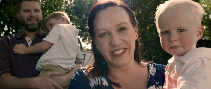 MJ Hegar and family, from her campaign video. (Video still: Courtesy of www.mjfortexas.com)