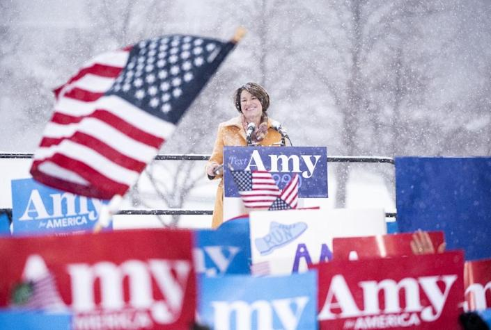 """US President Donald Trump is almost sure to invent more nicknames for his 2020 rivals, like when he called Senator Amy Klobuchar a """"Snowman(woman),"""" mocking global warming discussions, after she announced her 2020 candidacy in a Minnesota blizzard (AFP Photo/Stephen Maturen)"""