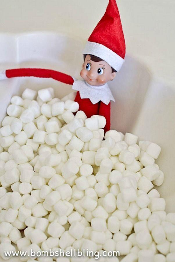 """<p>There's only one thing more delightful than an Elf on the Shelf taking a bubble bath: an Elf on the Shelf taking a bubble bath in a pile of mini marshmallows. </p><p><strong>Get the tutorial at <a href=""""https://www.bombshellbling.com/elf-shelf-ideas-using-marshmallows/"""" rel=""""nofollow noopener"""" target=""""_blank"""" data-ylk=""""slk:Bombshell Bling"""" class=""""link rapid-noclick-resp"""">Bombshell Bling</a>. </strong></p><p><strong><a class=""""link rapid-noclick-resp"""" href=""""https://www.amazon.com/Kosher-White-Mini-Marshmallows-Pack/dp/B07DFPLQ12?tag=syn-yahoo-20&ascsubtag=%5Bartid%7C10050.g.22690552%5Bsrc%7Cyahoo-us"""" rel=""""nofollow noopener"""" target=""""_blank"""" data-ylk=""""slk:SHOP MINI MARSHMALLOWS"""">SHOP MINI MARSHMALLOWS</a><br></strong></p>"""