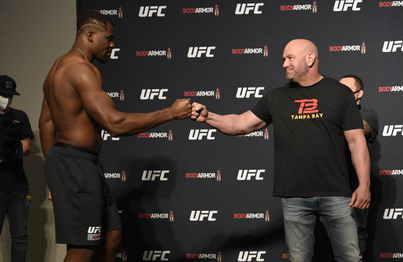 UFC president Dana White greets Francis Ngannou of Cameroon during the UFC 249 official weigh-in on May 08, 2020 in Jacksonville, Florida. (Photo by Mike Roach/Zuffa LLC)