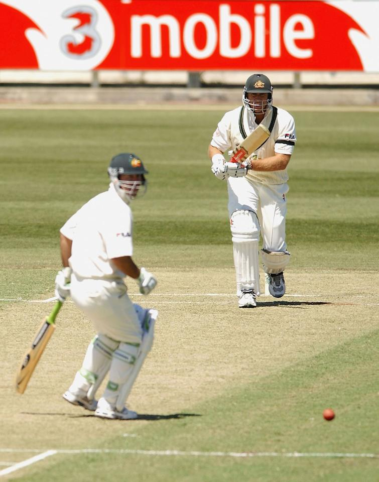 PERTH, AUSTRALIA - OCTOBER 9:  Matthew Hayden of Australia hits out during the first day of the first 3 Test match between Australia and Zimbabwe at the WACA October 9, 2003 in Perth, Australia. (Photo by Jon Buckle/Getty Images)