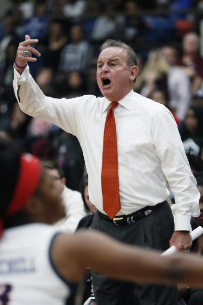 Mississippi State head coach Vic Schaefer calls to his team during the second half of an NCAA college basketball game against Jackson State, Thursday, Nov. 21, 2019, in Jackson, Miss. (AP Photo/Rogelio V. Solis)