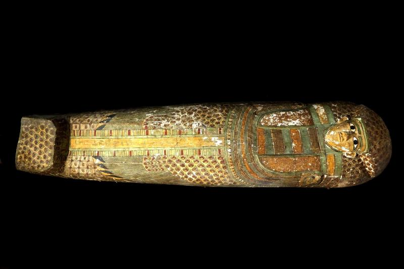 This photo released on Thursday, Feb. 13, 2014 by Egypt's Supreme Council of Antiquities, shows a preserved wooden sarcophagus that dates back to 1600 BC, when the Pharaonic 17th Dynasty reigned, in Egypt. Egypt's Antiquities Minister says Spanish archeologists have unearthed a 3,600-year-old mummy in the ancient city of Luxor. (AP Photo/Egypt's Supreme Council Of Antiquities)