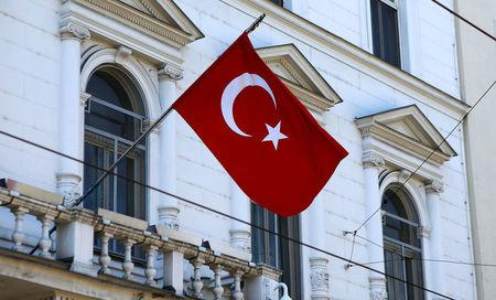 The Turkish flag is seen outside their embassy in Vienna