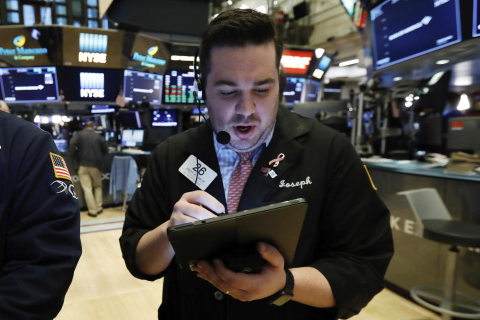 Trader Joseph Lawler works on the floor of the New York Stock Exchange, Monday, March 18, 2019. (Photo: AP Photo/Richard Drew)