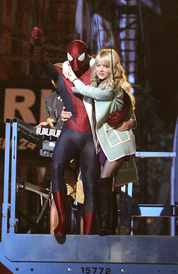 """Andrew Garfield and Emma Stone pictured swinging into action on the set of """"The Amazing Spider-Man 2"""", filming in the Lower East Side of Manhattan. Pictured: Andrew Garfield and Emma Stone Ref: SPL555194  040613  Picture by: Splash News   Splash News and Pictures Los Angeles:310-821-2666 New York:212-619-2666 London:870-934-2666 photodesk@splashnews.com"""