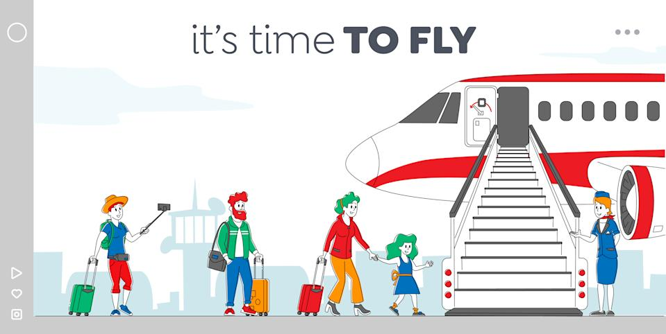 Characters Boarding on Airplane Landing Page Template. People Stand in Queue on Plane in Airport. Passengers and Stewardess Stand at Jet Ladder to Board for Air Travel. Linear Vector Illustration