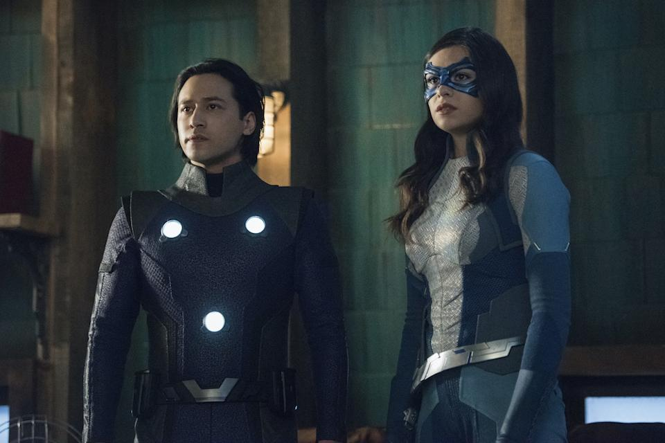 Brainiac-5 (Jesse Rath) and Dreamer (Nia Nal) team up in Supergirl. (Warner TV)