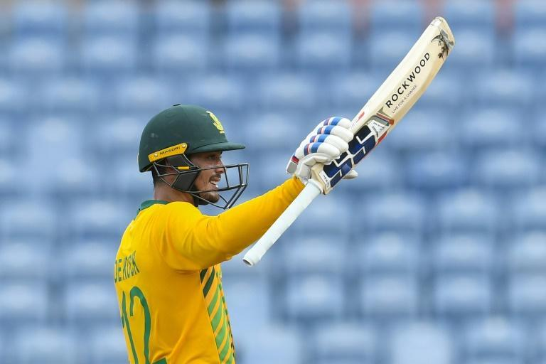 South African batsman Quinton de Kock celebrates his half century during the final T20 international against the West Indies on Saturday