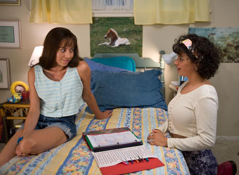 "This film publicity image released by CBS Films shows Aubrey Plaza as Brandy Klark, left, and Alia Shawkat as Fiona in a scene from ""The To Do List."" (AP Photo/CBS Films, Bonnie Osborne)"