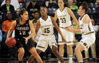 Harvard Kit Metoyer, left, dribbles around Notre Dame guards Lindsay Allen, center, and Michaela Mabrey in the first half of an NCAA college basketball game, Monday, Nov. 24, 2014, in South Bend, Ind. (AP Photo/Joe Raymond)