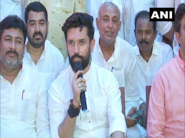 Chirag Paswan speaking at the press conference (Photo/ANI)