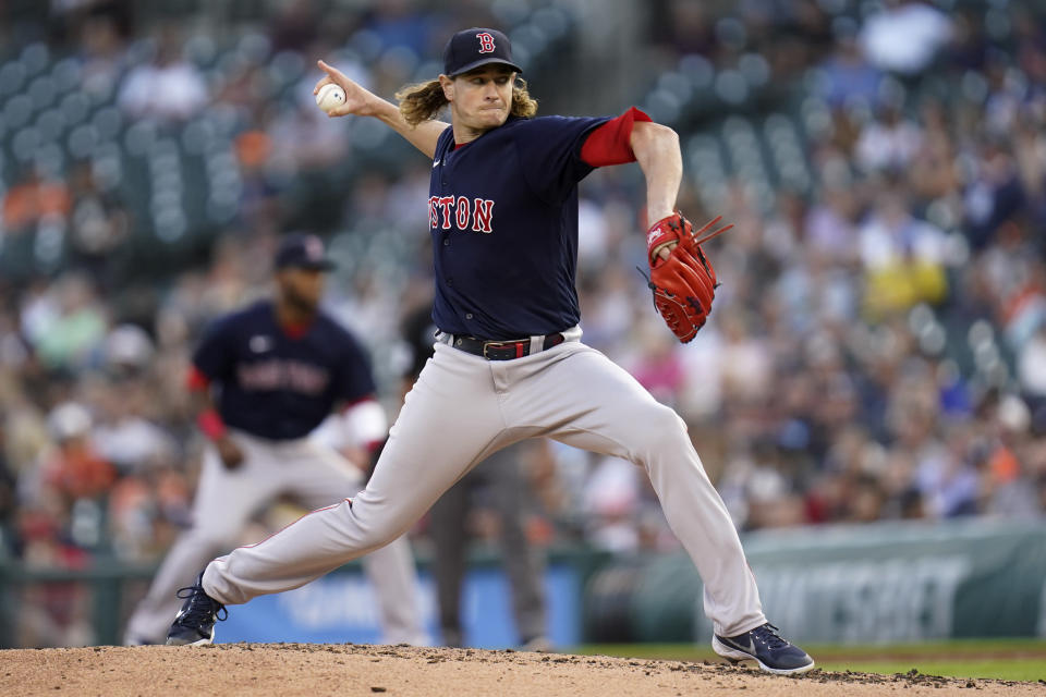 Boston Red Sox pitcher Garrett Richards throws against the Detroit Tigers in the third inning of a baseball game in Detroit, Tuesday, Aug. 3, 2021. (AP Photo/Paul Sancya)
