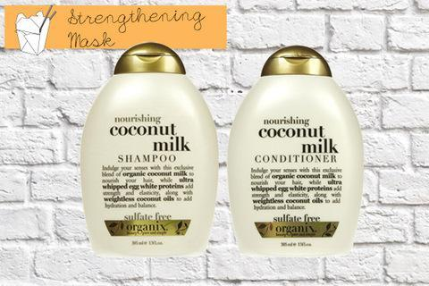 """<div class=""""caption-credit""""> Photo by: Organix</div><p> <b>Strengthening Take Out Option</b> <br> Try Organix Nourishing Coconut Milk shampoo ($7) and conditioner ($7) , Ulta.com <br> </p> <p> <a href=""""http://www.youbeauty.com/hair/hair-evolution-history"""" rel=""""nofollow noopener"""" target=""""_blank"""" data-ylk=""""slk:MORE: Why Do We Have Hair?"""" class=""""link rapid-noclick-resp""""><b>MORE:</b> Why Do We Have Hair?</a> </p> <p> <a href=""""http://www.youbeauty.com/hair/hair-structure"""" rel=""""nofollow noopener"""" target=""""_blank"""" data-ylk=""""slk:"""" class=""""link rapid-noclick-resp""""><br></a> </p>"""