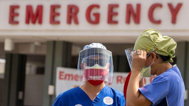 PHOTO: Healthcare workers at Fountain Valley Regional Hospital hold a rally outside their hospital for safer working conditions during the outbreak of the coronavirus disease (COVID-19) in Fountain Valley, California, Aug. 6, 2020. (Mike Blake/Reuters)