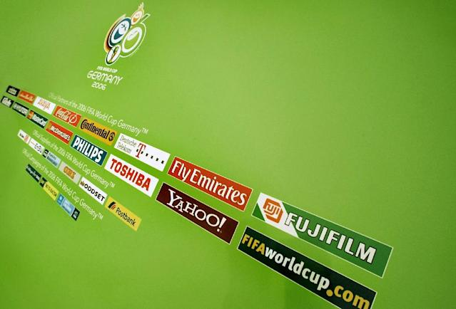 The 2006 World Cup official logo (above) and sponsorship logos are seen on March 6, 2006, in Dusseldorf, Germany (AFP Photo/Pascal Pavani)