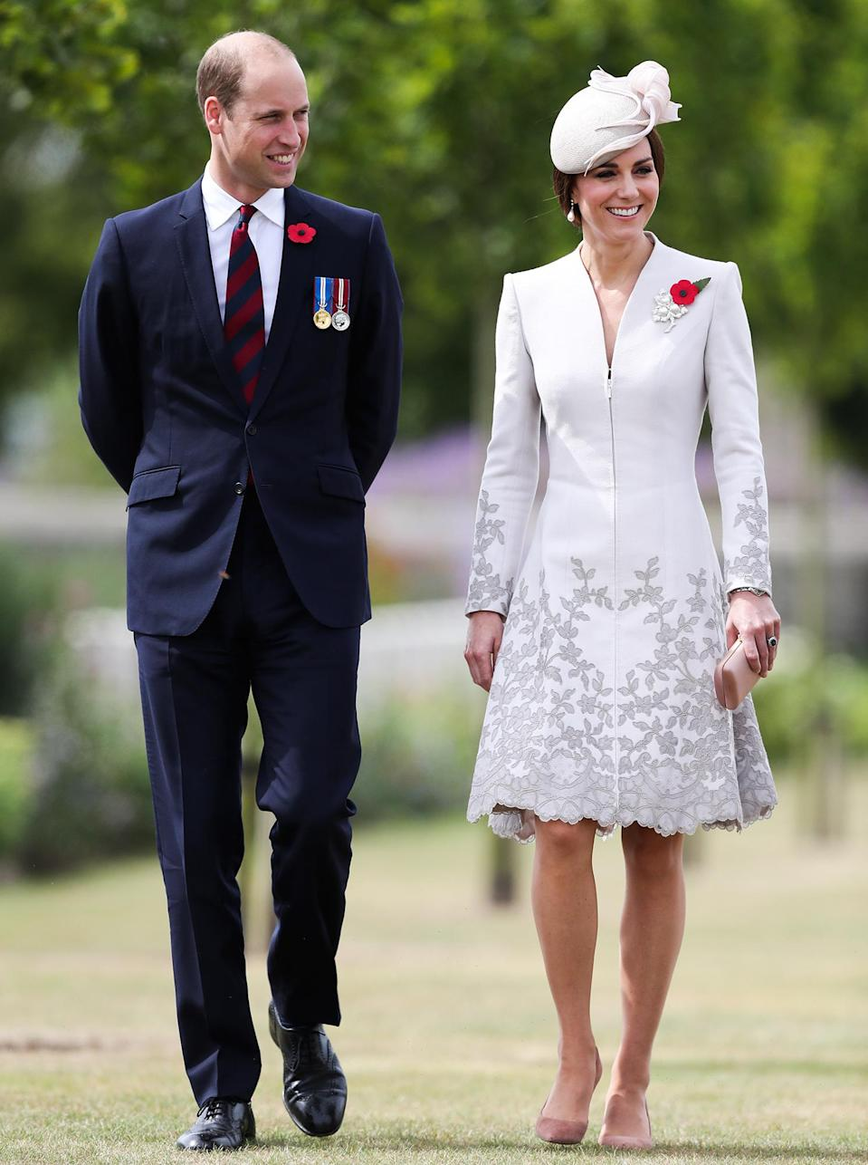 <p><strong>When:</strong> July 31, 2017 <strong>Where:</strong> Attending a ceremony at the Tyne Cot cemetery near Ypres in Belgium <strong>Wearing:</strong> Catherine Walker white Melrose coat <strong>Get the Look:</strong> Express Floral Lace Trench Coat, $178; <span>express.com</span> NIC and ZOE Lush Lace Trench, $111.37; <span>bloomingdales.com</span> Maggy London Fit & Flare Dress, $100.80; <span>nordstrom.com</span> Chico's Collectibles Lace Limited Trench Jacket, $69.99; <span>chicos.com</span></p>