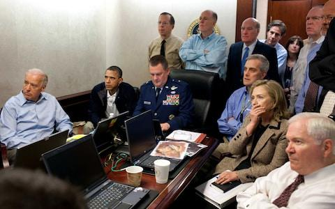Barack Obama with senior administration officials in the White Situation Room on the night Osama bin Laden was killed in May 2011 - Credit: Official White House Photo by Pete Souza