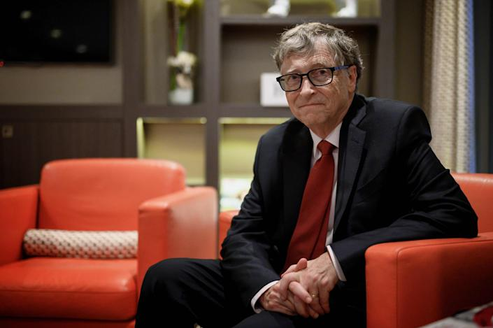(FILES) In this file photo US Microsoft founder, Co-Chairman of the Bill & Melinda Gates Foundation, Bill Gates, poses for a picture on October 9, 2019, in Lyon, central eastern France, during the funding conference of Global Fund to Fight AIDS, Tuberculosis and Malaria. - Microsoft on Friday announced that co-founder Bill Gates has left its board of directors to devote more time to philanthropy. (Photo by JEFF PACHOUD / AFP) (Photo by JEFF PACHOUD/AFP via Getty Images) ORG XMIT: Microsoft ORIG FILE ID: AFP_1PV8AC