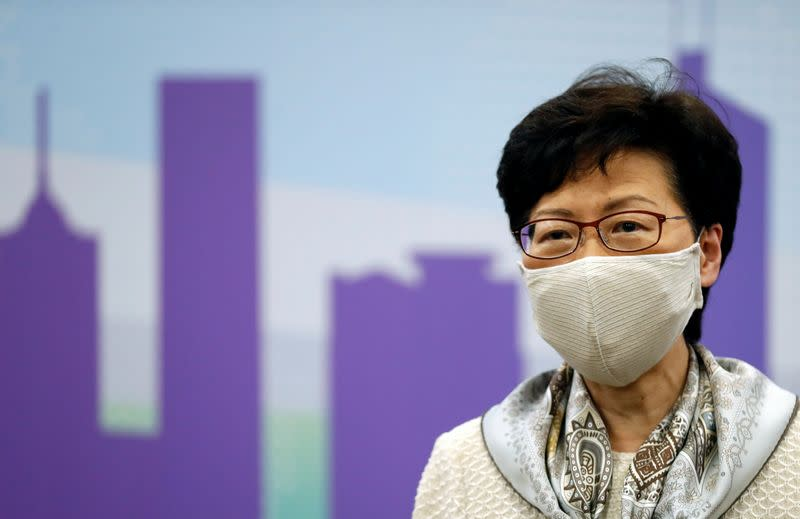 Hong Kong Chief Executive Carrie Lam holds a news conference in Beijing