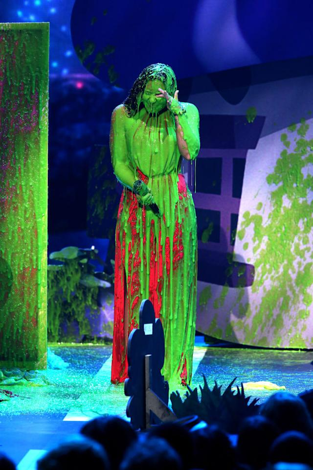 <p>The star got hit with an epic amount of slime. (Photo: Getty Images) </p>