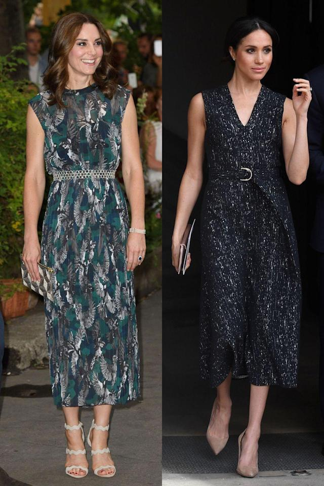 <p>Although these dresses have different patterns, they feature a similar length, cut, and belt detail. Kate's is Markus Lupfer, while Meghan's is Hugo Boss. </p>