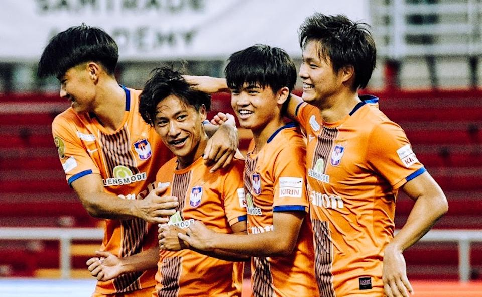 Albirex Niigata players celebrate a goal from Ryosuke Nagasawa (second from left) during their 5-0 win over Geylang International. (PHOTO: Singapore Premier League/Facebook)
